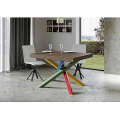 Itamoby Volantis Multicolor 4b 130 Allungabile A 390 Extendable table l. 130 x 90 with red / green / blue / yellow structure and wood effect top