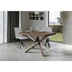 Itamoby Volantis Multicolor 4c 130 Allungabile A 390 Extendable table l. 130 x 90 with white / pale brown / gray / chocolate brown structure and wood effect top