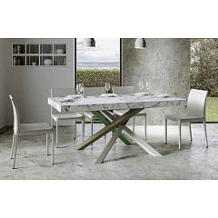 Itamoby Volantis Multicolor 4a 160 Allungabile A 420 Extendable table l. 160 x 90 with white / moss gray / olive gray / green structure and wood effect top