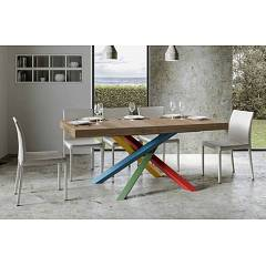 Itamoby Volantis Multicolor 4b 180 Allungabile A 440 Extendable table l. 180 x 90 with red / green / blue / yellow structure and wood effect top