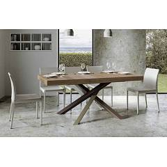 Itamoby Tavolo Volantis Multicolor 4c 180 Allungabile A 440 Extendable table l. 180 x 90 with white / pale brown / gray / chocolate brown structure and wood effect top