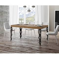 Itamoby Karamay 160 Allungabile A 264 Extendable table l. 160 x 90 - anthracite metal structure | gold with wood effect top
