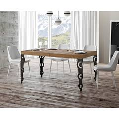 Itamoby Karamay 180 Allungabile A 284 Extendable table l. 180 x 90 - anthracite metal structure | gold with wood effect top