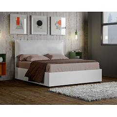 Itamoby Egos Alice Double bed with container - matt white wood effect structure with padded headboard covered in imitation leather - with | without mattress