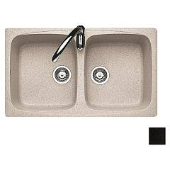 Jollynox 1ign9060/2.e Built-in sink 86x50 cm - black granite 2 tanks J-granito