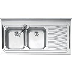 Jollynox 1120/2d3k Countertop sink cm. 120 x 60 - satin stainless steel 2 bowls + right drip Appoggio
