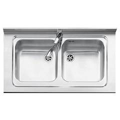 Jollynox 19050/2k Supporting sink cm. 90 x 50 - inox 2 tanks Free Standing