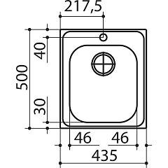 Jollynox built-in sink 1 bowl 1LLF453K 44 x 50 - stainless steel - technical drawing
