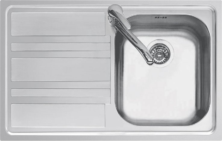 Jollynox built-in sink 1 bowl 1LLF80 / 1S3K - 79 x 50 with left drip - stainless steel - front