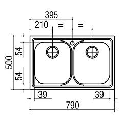 Jollynox built-in sink 2 bowls 1LLF80 / 23K - 79 x 50 - stainless steel - technical drawing