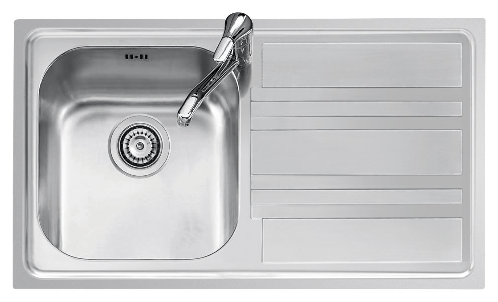 Built-in sink 86x50 cm - stainless steel 1 bowl + right drainer