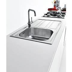 Jollynox built-in sink 1 bowl 1LLF90 / 1D3K - 86 x 50 with right drip - stainless steel - ambient