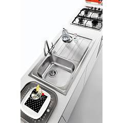 Built-in sink 86x50 cm - stainless steel 1 bowl + right drainer - photo set