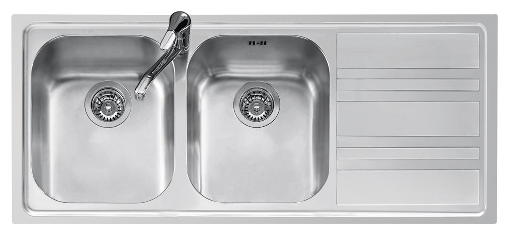 Jollynox built-in sink 2 bowls 1LLF120 / 2D3K 116x50 - with right drip - stainless steel - front