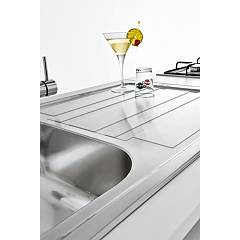 Jollynox built-in sink 2 bowls 1LLF120 / 2D3K 116x50 - with right drip - stainless steel - detail