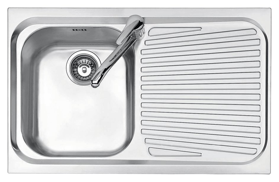 Jollynox built-in sink 1 bowl 1I80 / 1.91DK - 79 x 50 with right drip - stainless steel - front
