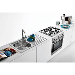 Jollynox built-in sink 1 bowl 1I80 / 1.91DK - 79 x 50 with right drainer - stainless steel - panoramic setting