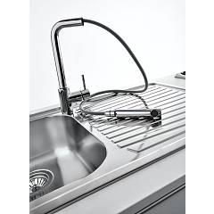 Jollynox built-in sink 1 bowl 1I80 / 1.91DK - 79 x 50 with right drainer - stainless steel - detail
