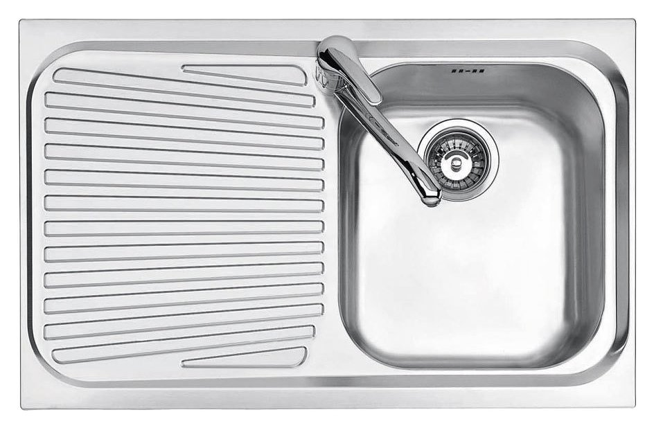 Jollynox built-in sink 1 bowl 1I80 / 1.91SK - 79 x 50 with left drainer - stainless steel - front