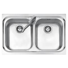 Jollynox 1i80/2.91k Built-in sink cm 79x50 - inox 2 tanks Vega