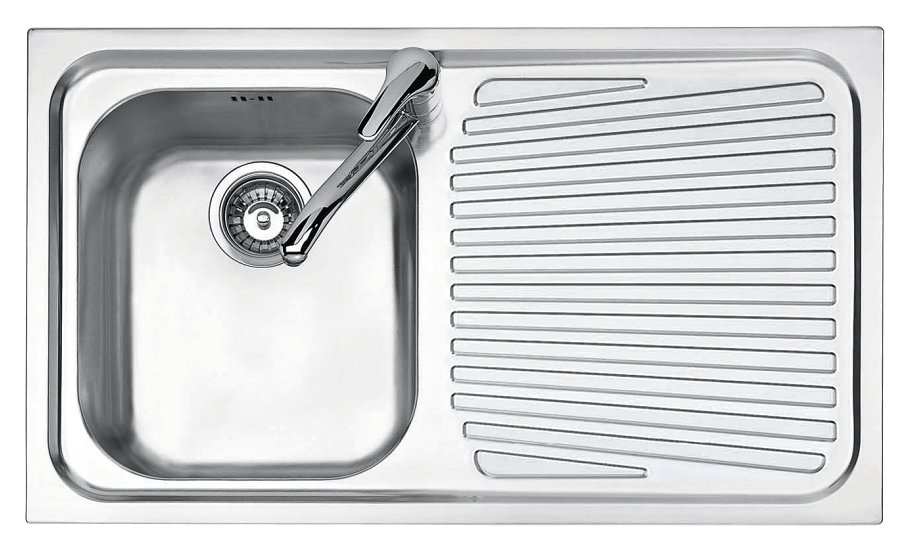 Jollynox built-in sink 1 bowl 1I90 / 1.91DK - 86x50 with right drip - stainless steel - front