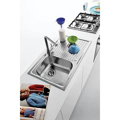 Jollynox built-in sink 1 bowl 1I90 / 1.91DK - 86x50 with right drip - stainless steel - ambient