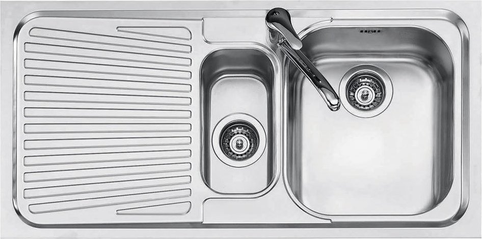 Built-in 1 ½ bowl sink 100 x 50 with left drainer Jollynox 1I100SK - stainless steel