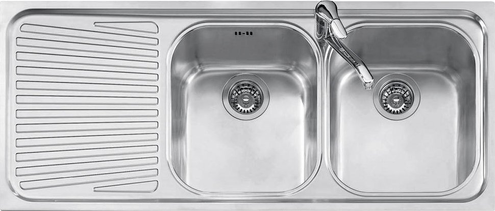 Jollynox built-in sink 2 bowls 1I120 / 2.91SK - 116 x 50 with left drainer - stainless steel