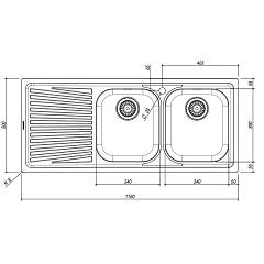 Jollynox built-in sink 2 bowls 1I120 / 2.91SK - 116 x 50 with left drainer - technical drawing
