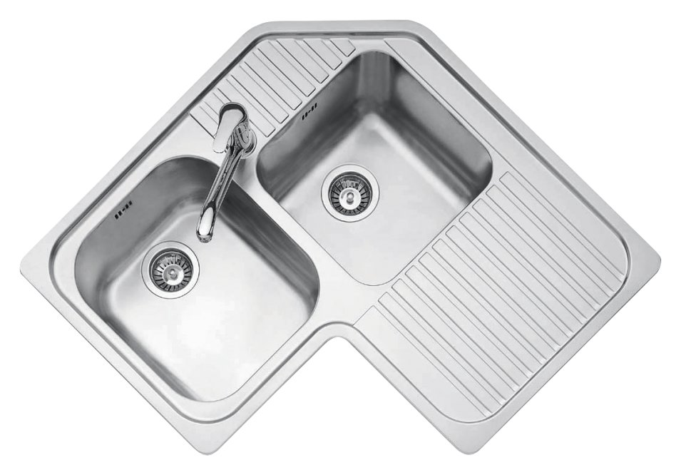 Jollynox built-in corner sink 2 bowls 1IO9090D - 83 x 83 with right drip - stainless steel - front