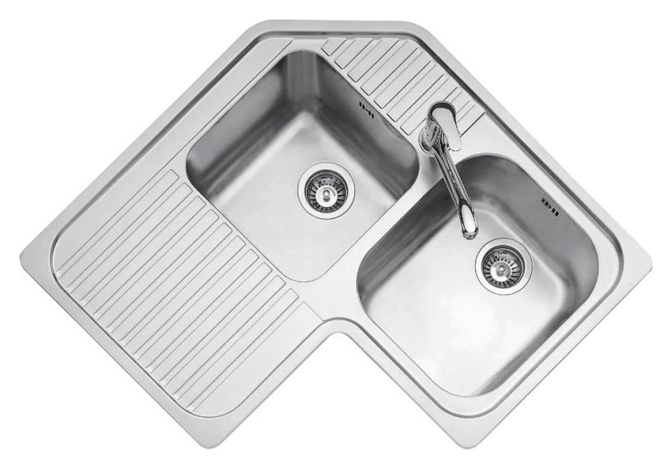 Jollynox built-in corner sink 2 bowls 1IO9090S - 83 x 83 with left drip - stainless steel - front