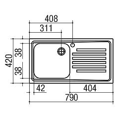 Jollynox built-in sink 1 bowl 1I8050 / 1.90DK - 79 x 42 with right drip - stainless steel - technical drawing