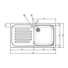 Jollynox built-in sink 1 bowl 1I8050 / 1.90SK - 79 x 42 with left drainer - stainless steel - technical drawing