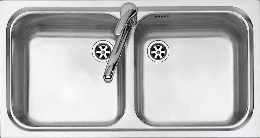 Jollynox built-in sink 2 bowls 1I8050 / 2.90K 79 x 42 - stainless steel - front