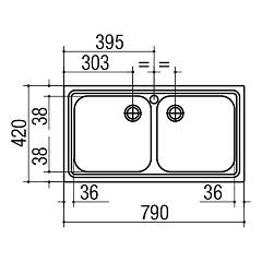 Jollynox built-in sink 2 bowls 1I8050 / 2.90K 79 x 42 - stainless steel - technical drawing