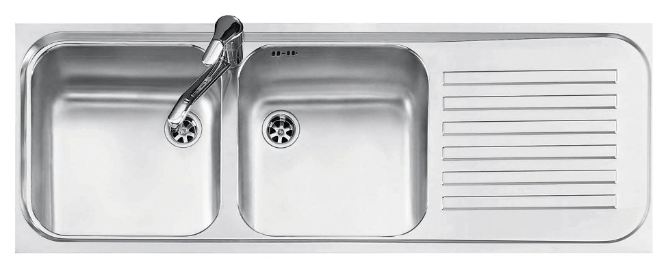 Jollynox built-in sink 2 bowls 1I12050 / 2.90DK - 116 x 42 with right drip - stainless steel - front