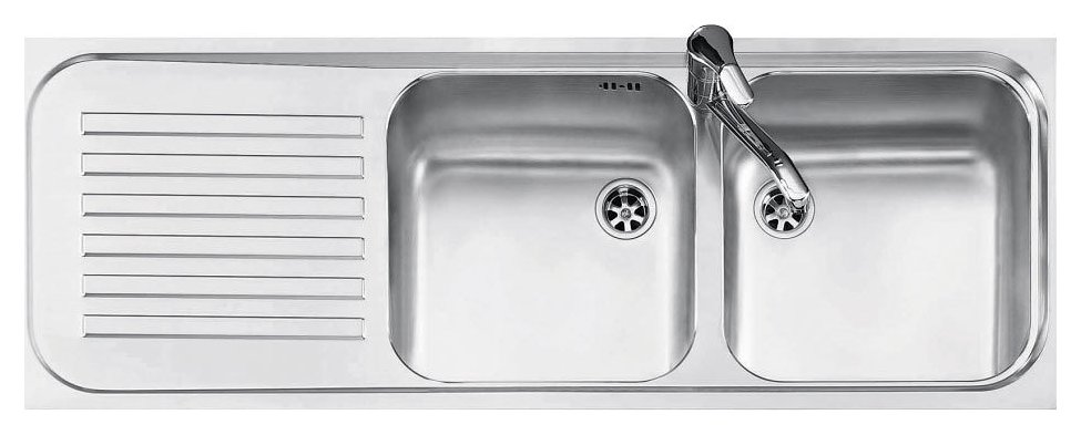 Jollynox built-in sink 2 bowls 1I12050 / 2.90SK - 116 x 42 with left drainer - stainless steel - front