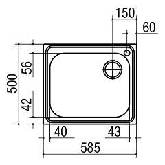 Jollynox 1I60 / 1K built-in sink 1 bowl - 59 x 50 - stainless steel - technical drawing