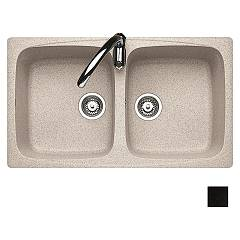 Jollynox 1ign8060/2.e Built-in sink cm 79x50 - black granite 2 tanks J-granito