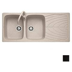 Jollynox 1ign12060/2.e Recessed sink 116x50 cm - black granite 2 tanks + drainer J-granito