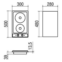 Jollynox electric hob 1PVG2E cm. 30 - stainless steel - technical drawing