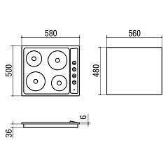 Electric gas hob Jollynox 1PLF64E cm. 58 - stainless steel - technical drawing