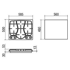 Jollynox gas hob 1PI311OMVE cm. 59 - stainless steel - technical drawing