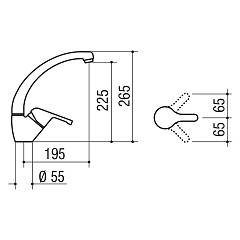 Jollynox TOP kitchen mixer - chrome - technical drawing