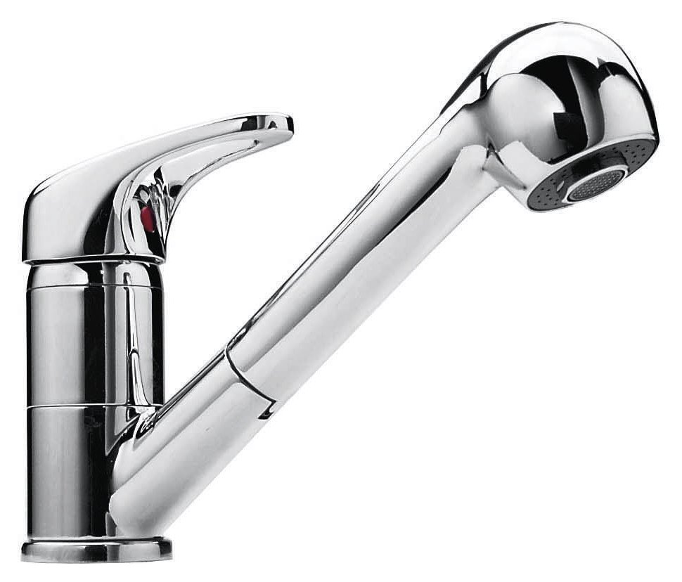 Chrome kitchen mixer with Jollynox 1RUBMD hand shower - chrome - front