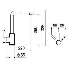 Kitchen mixer with Jollynox VEGA hand shower - chrome - technical drawing