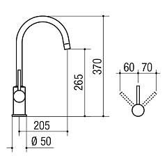 Jollynox ARCHETTO kitchen mixer - chrome - technical drawing