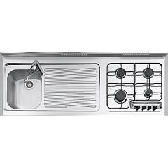 Jollynox 1u18014dve Monoblocco cm. 180 x 60 - inox right cooktop + sink