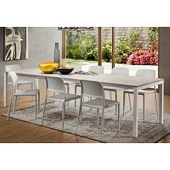 La Primavera Luigi Super Rettangolare Extendable table - metal frame with wooden top | hpl | fenix