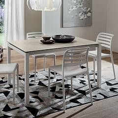 La Primavera Luigi Fixed / extendable table - metal frame with melamine top | hpl | fenix | laminam | glass